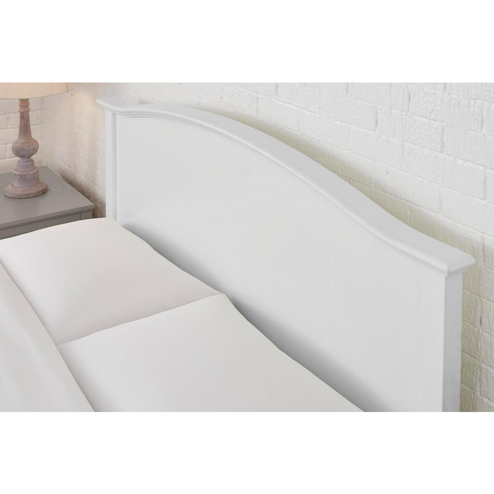 Stylewell Colemont White Wood Twin Bed With Curved Headboard 40 43 In W X 48 In H Xmb2011 Bed The Home Depot