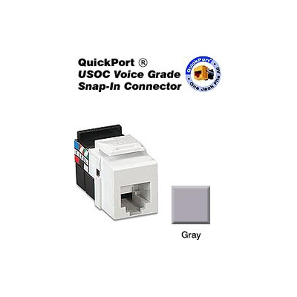 QuickPort 8P8C Voice Grade Connector, Gray