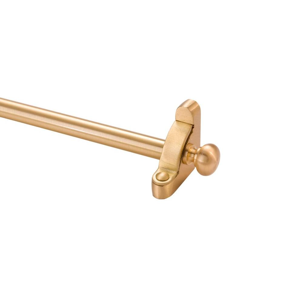 Zoroufy Heritage Collection Tubular 36 in. x 1/2 in. Brushed Brass Finish Stair Rod Set with Round Finial