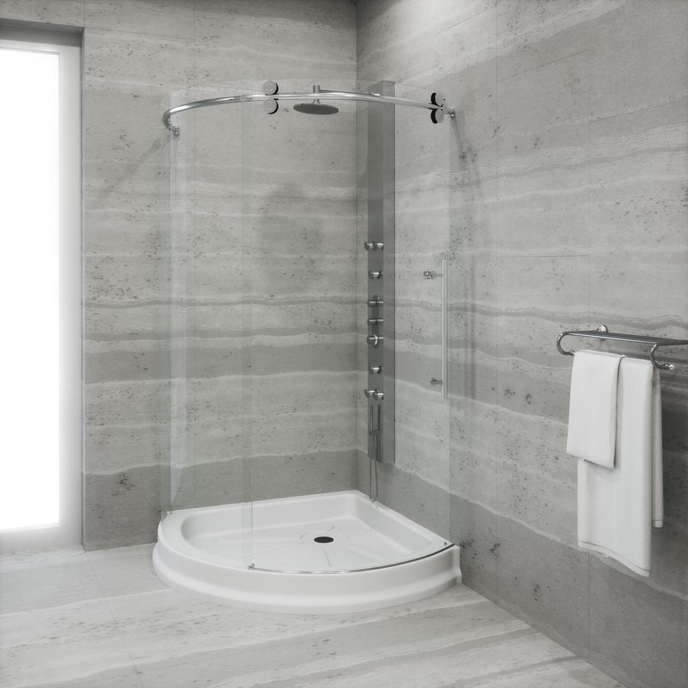 VIGO Sanibel 43.625 in. x 79.5 in Frameless Bypass Shower Enclosure in Stainless Steel with Base