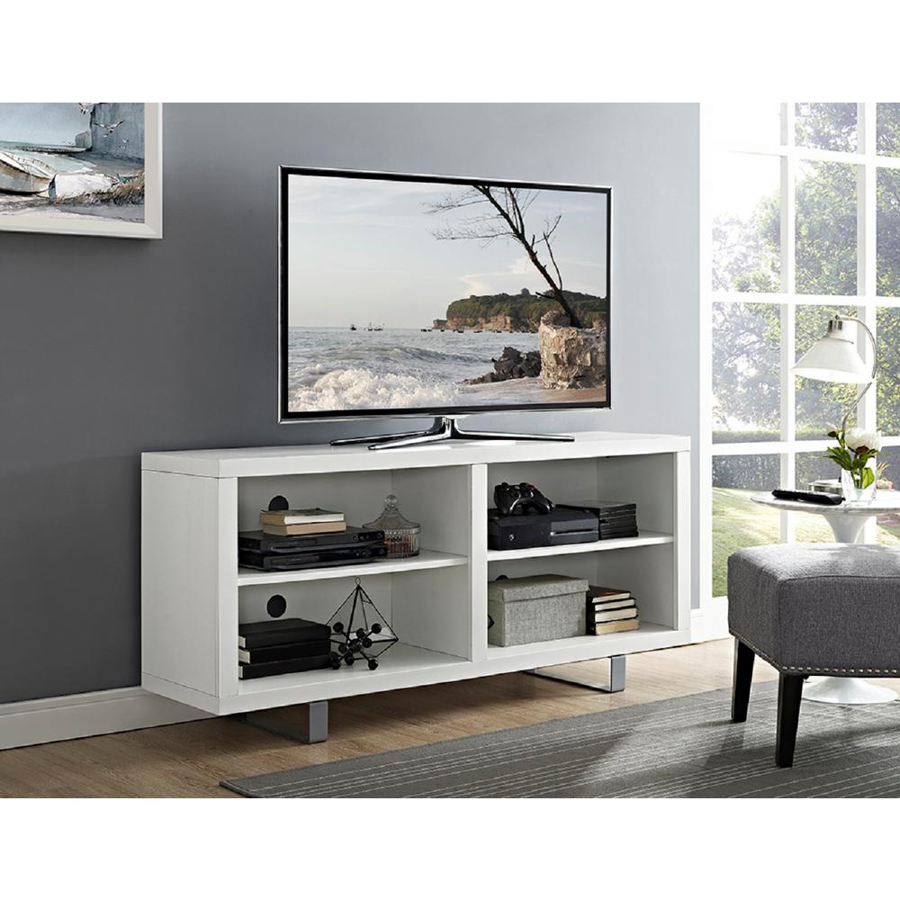 Walker Edison Furniture Company 58 In Simple Modern Tv Console With Metal Legs In White