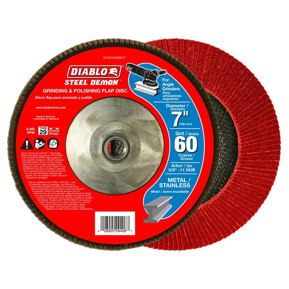 Diablo 7 in. 60-Grit Steel Demon Grinding and Polishing Flap Disc with 5/8 in. -11 HUB and Type 29 Conical Design