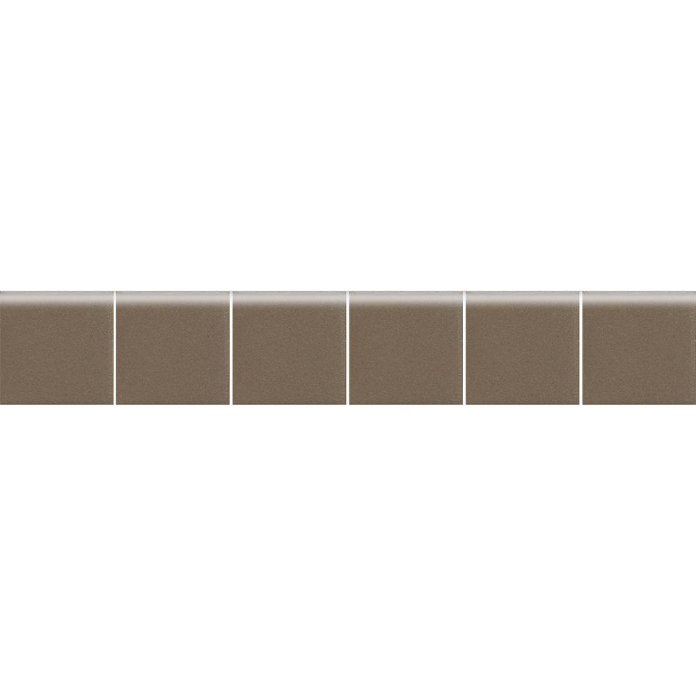 Daltile Keystones Unglazed Artisan Brown 2 in. x 12 in. x 6 mm Porcelain Mosaic Bullnose Floor and Wall Tile