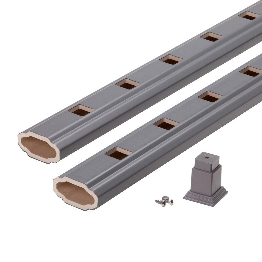 8 ft. Composite Shadow Grey Straight Rail Kit