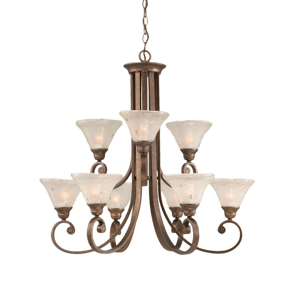 Concord 9-Light Bronze Chandelier with Frosted Crystal Glass