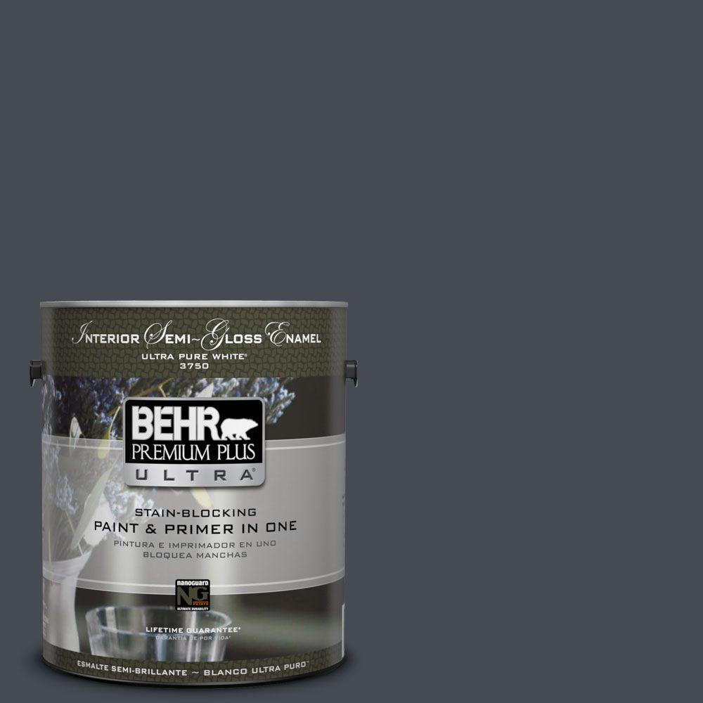 Home Decorators Collection 1-gal. #HDC-CL-24 Black Ribbon Semi-Gloss Enamel Interior Paint