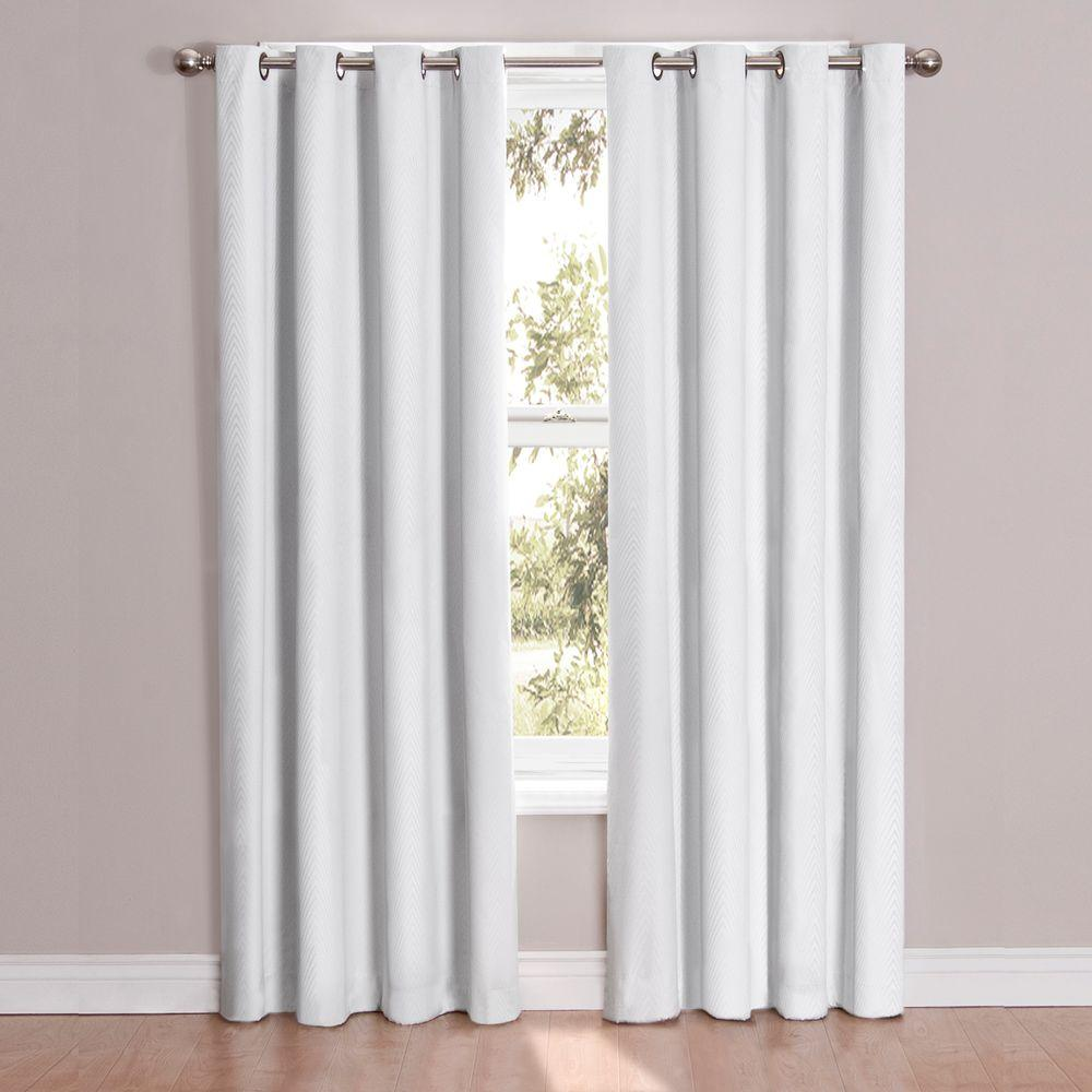 White Window Curtain - Eclipse cassidy blackout white polyester grommet curtain panel 63 in length 12423052063whi the home depot