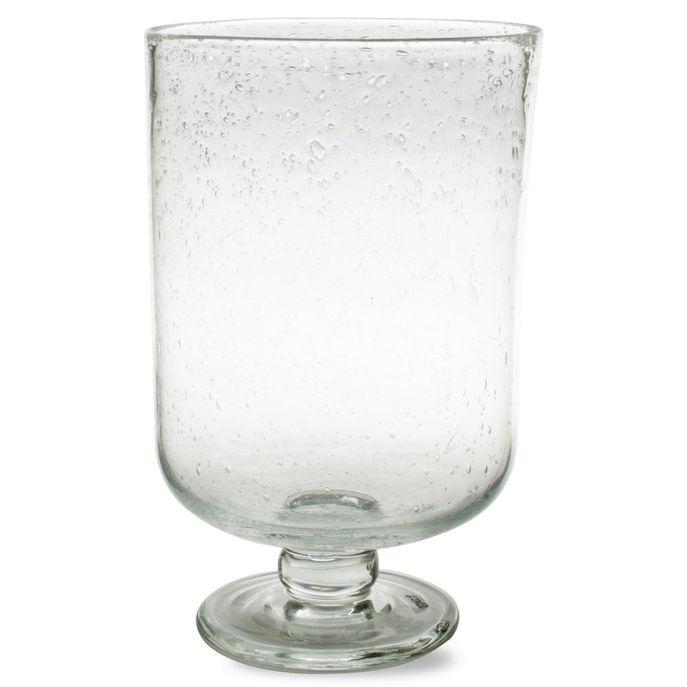 Hurricane 9-1/2 in. Clear Bubble Glass Medium Candle Holder