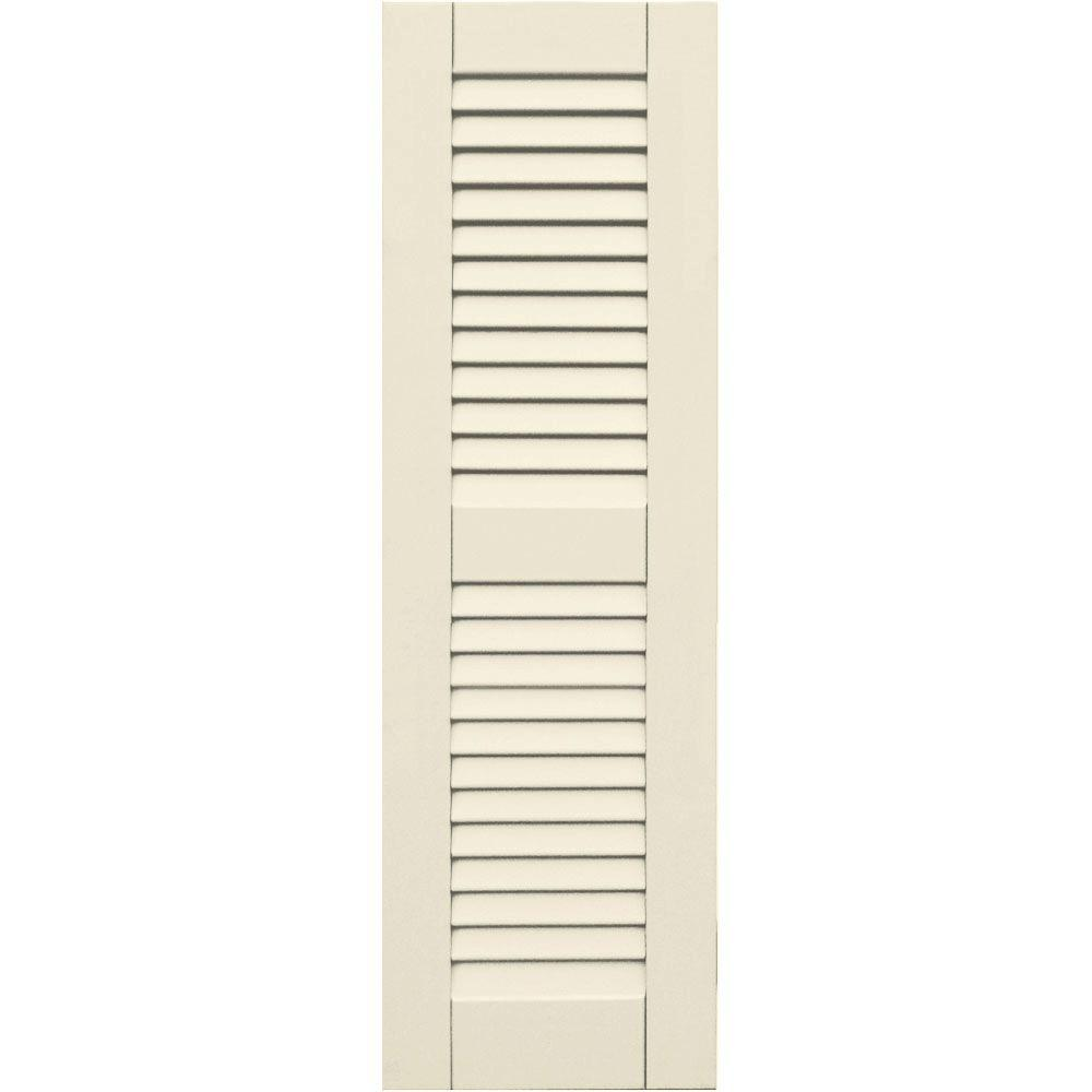 null Wood Composite 12 in. x 39 in. Louvered Shutters Pair #651 Primed/Paintable