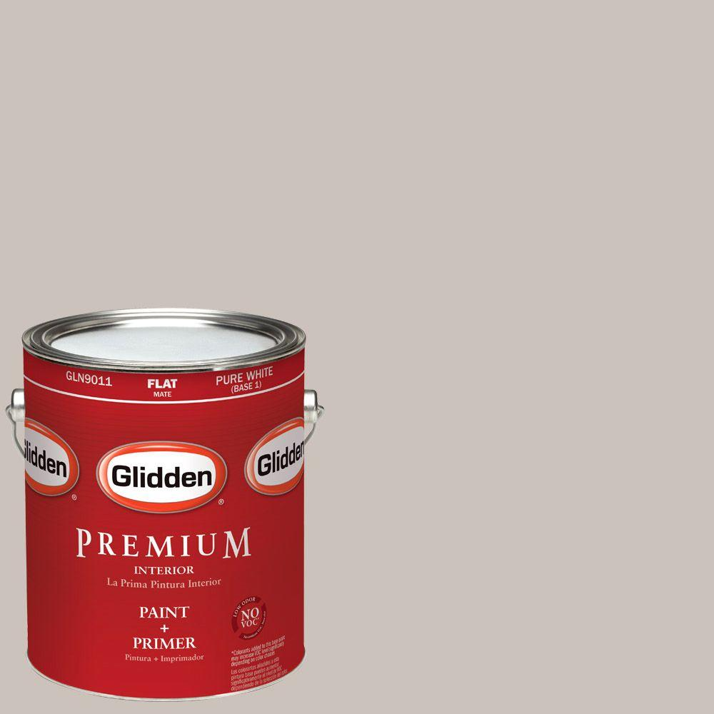 Interior Paint, Exterior Paint & Paint Samples: Glidden Premium Paint 1-gal. #HDGWN09D Kennett Square Taupe Flat Latex Interior Paint with Primer HDGWN09DP-01F