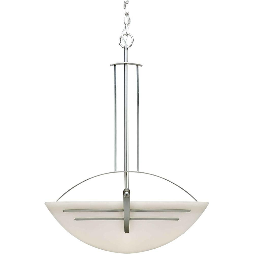 Talista 4-Light Brushed Nickel Bowl Pendant with Satin Opal Glass