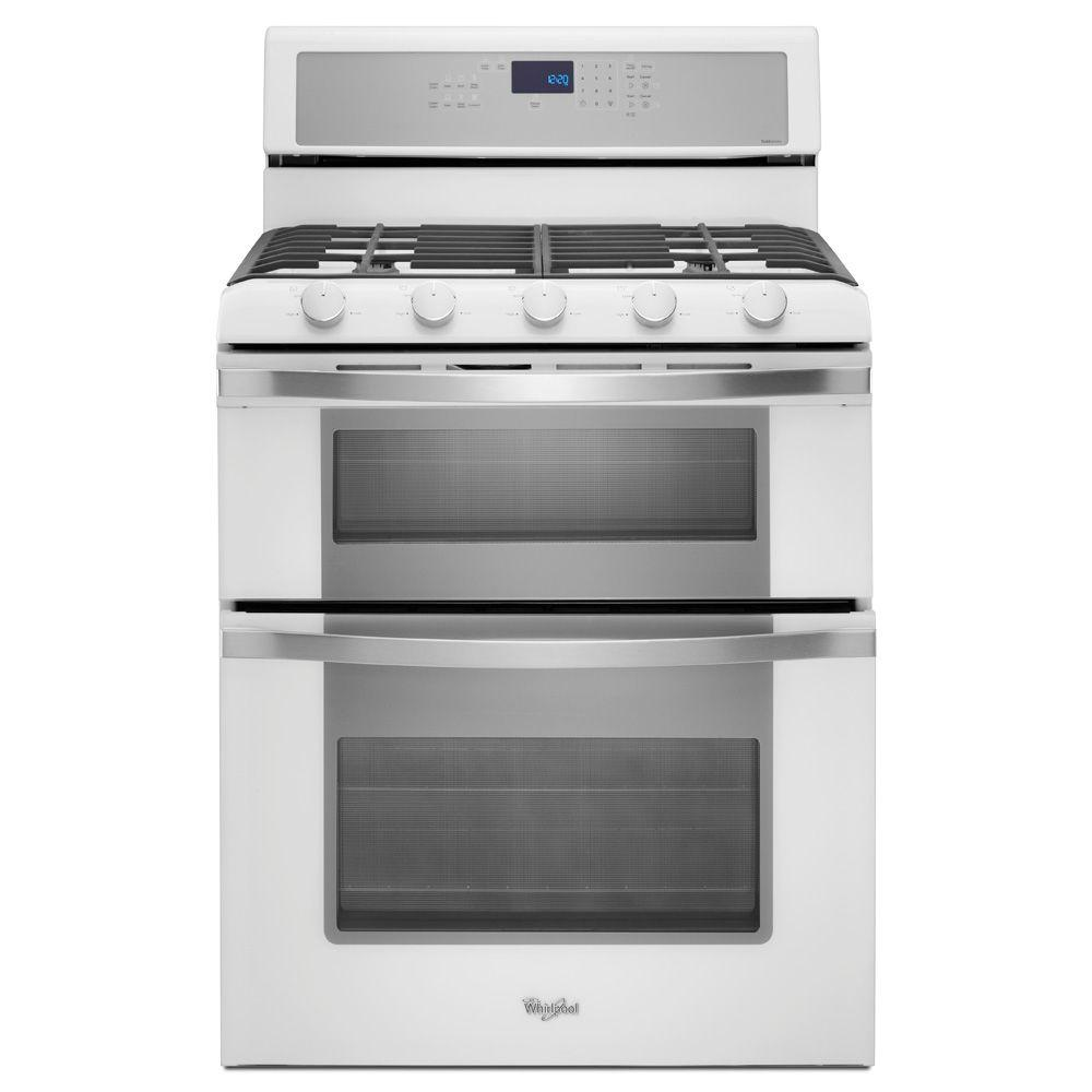 Whirlpool 6.0 cu. ft. Double Oven Gas Range with Self-Cleaning Convection Oven in White Ice