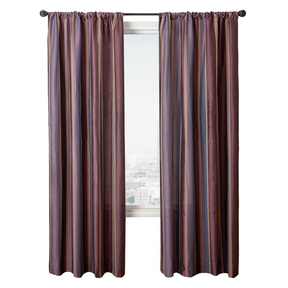 Home Decorators Collection Stripe Purple Diplomat Rod Pocket Curtain - 54 in.W x 84 in. L