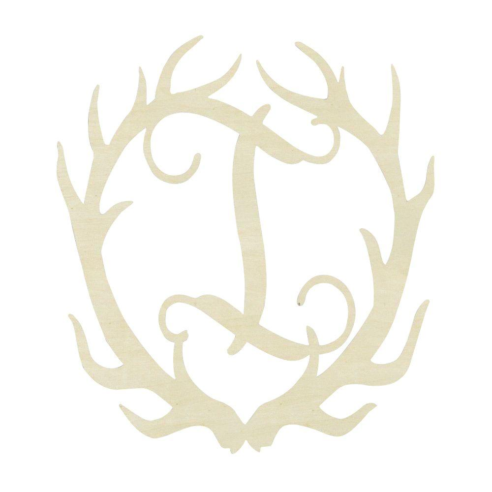 Jeff McWilliams Designs 19.5 in. Unfinished Antler Monogram (I)-300542 - The