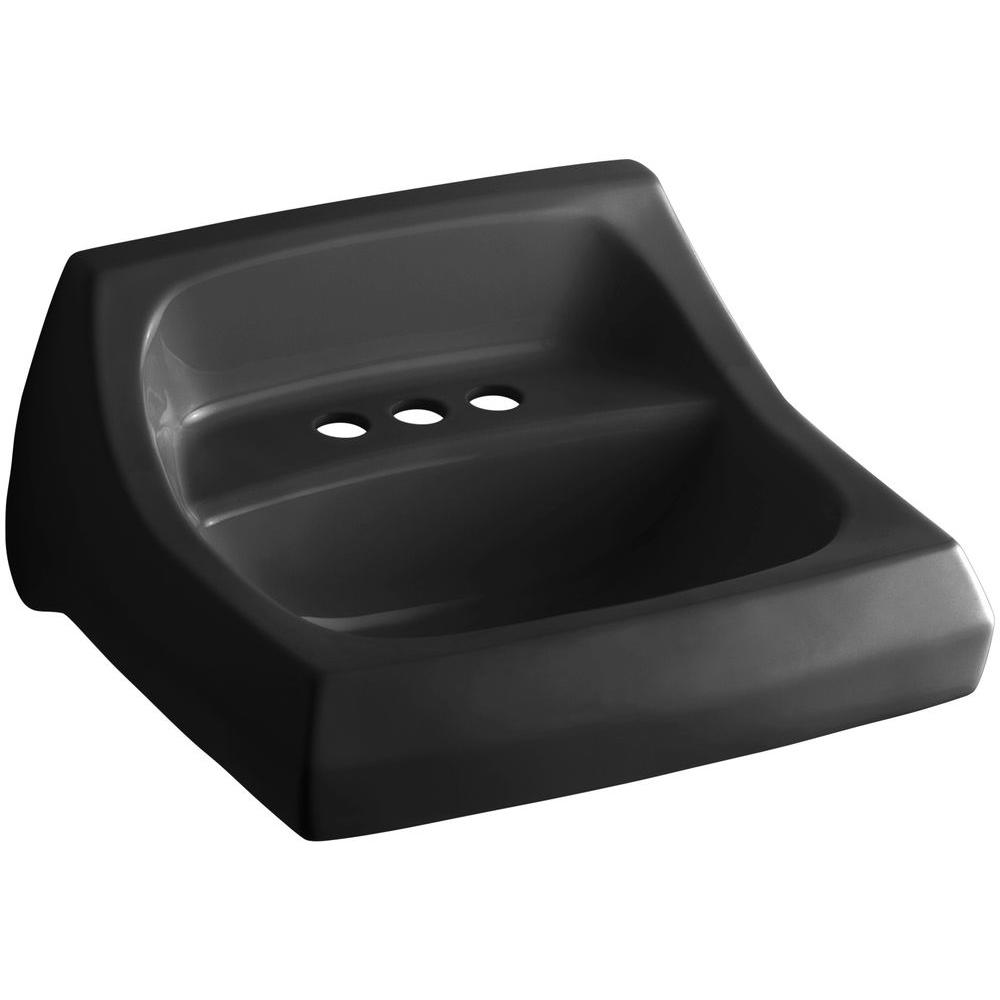 Kingston Wall-Mount Vitreous China Bathroom Sink in Black with Overflow Drain