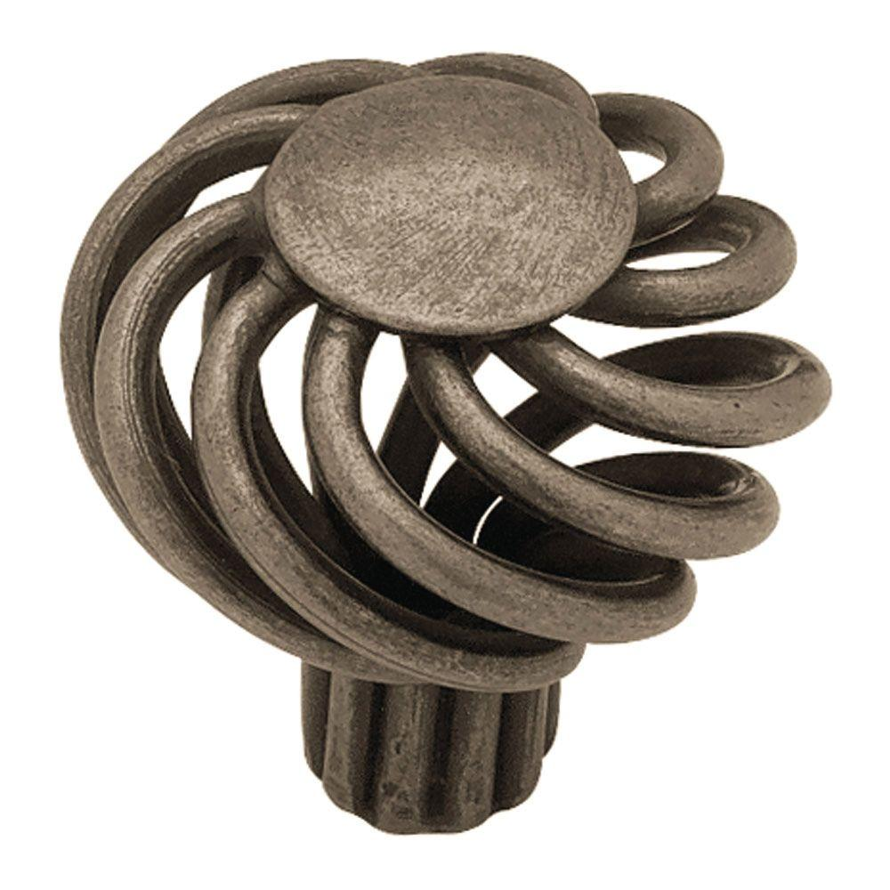 Liberty Forged Iron 1-1/4 in. Pewter Small Wire Swirl with Flat Top Cabinet Knob