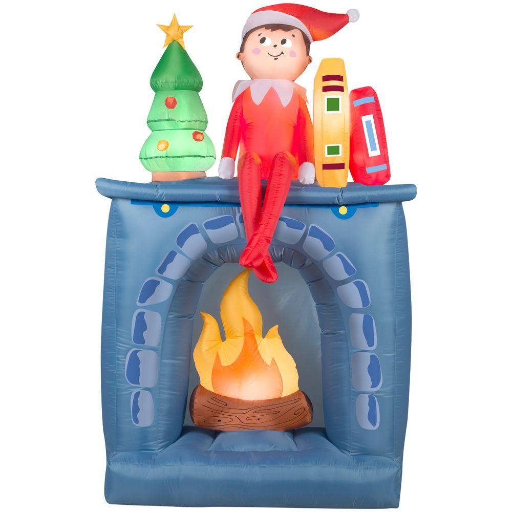 Gemmy 6.5 ft. H Inflatable Scout Elf on Fireplace-36995 - The