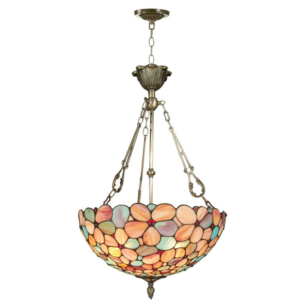Dale Tiffany Red Pansy 3-Light Antique Brass Inverted Hanging Pendant Lamp