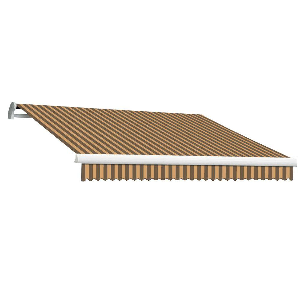 Beauty-Mark 18 ft. MAUI EX Model Manual Retractable Awning (120 in. Projection) in Brown and Tan Stripe
