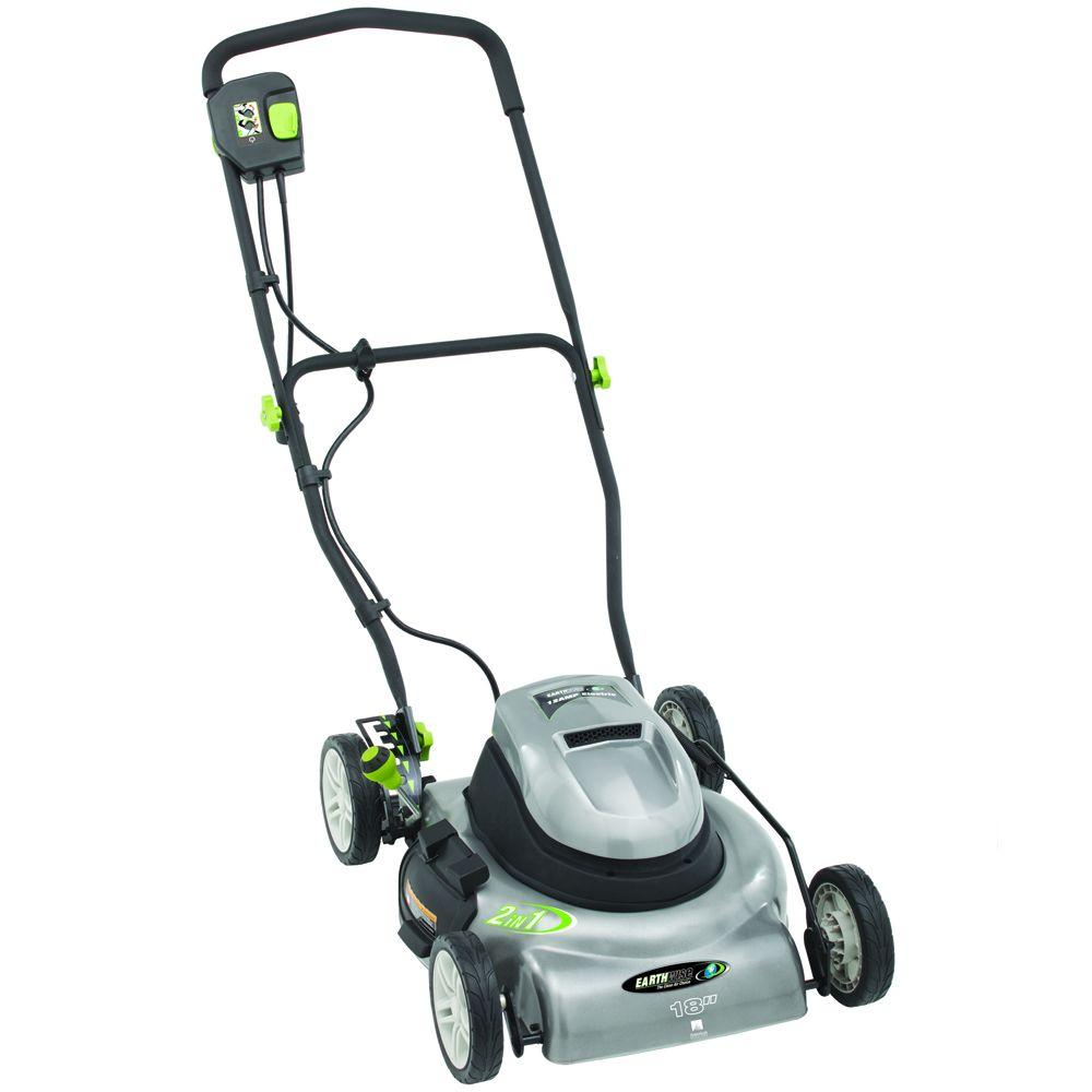 18 in. Corded Walk Behind Battery Push Lawn Mower
