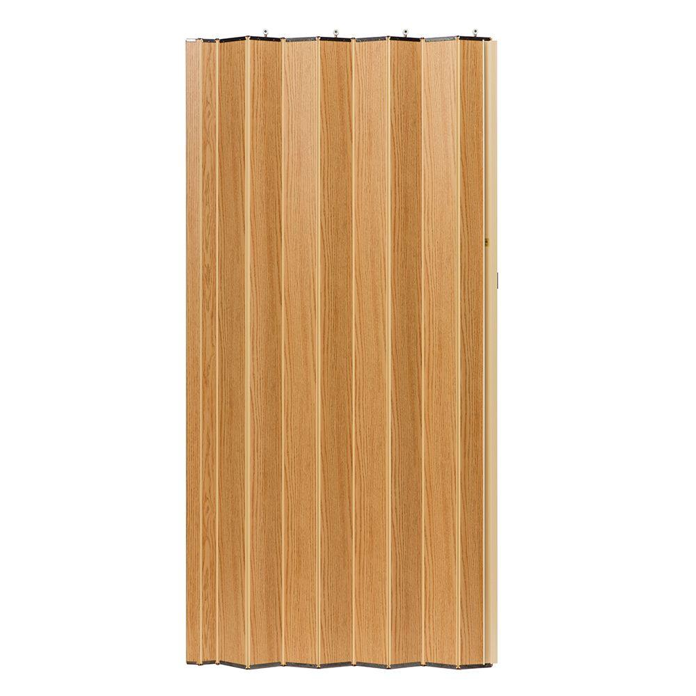 36 in. x 80 in. Woodshire Vinyl-Laminated MDF Natural Oak Accordion