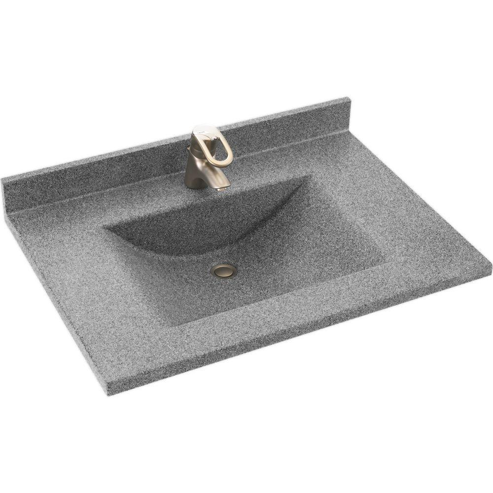Swanstone Contour 25 in. Solid Surface Vanity Top with Basin in Gray Granite-DISCONTINUED
