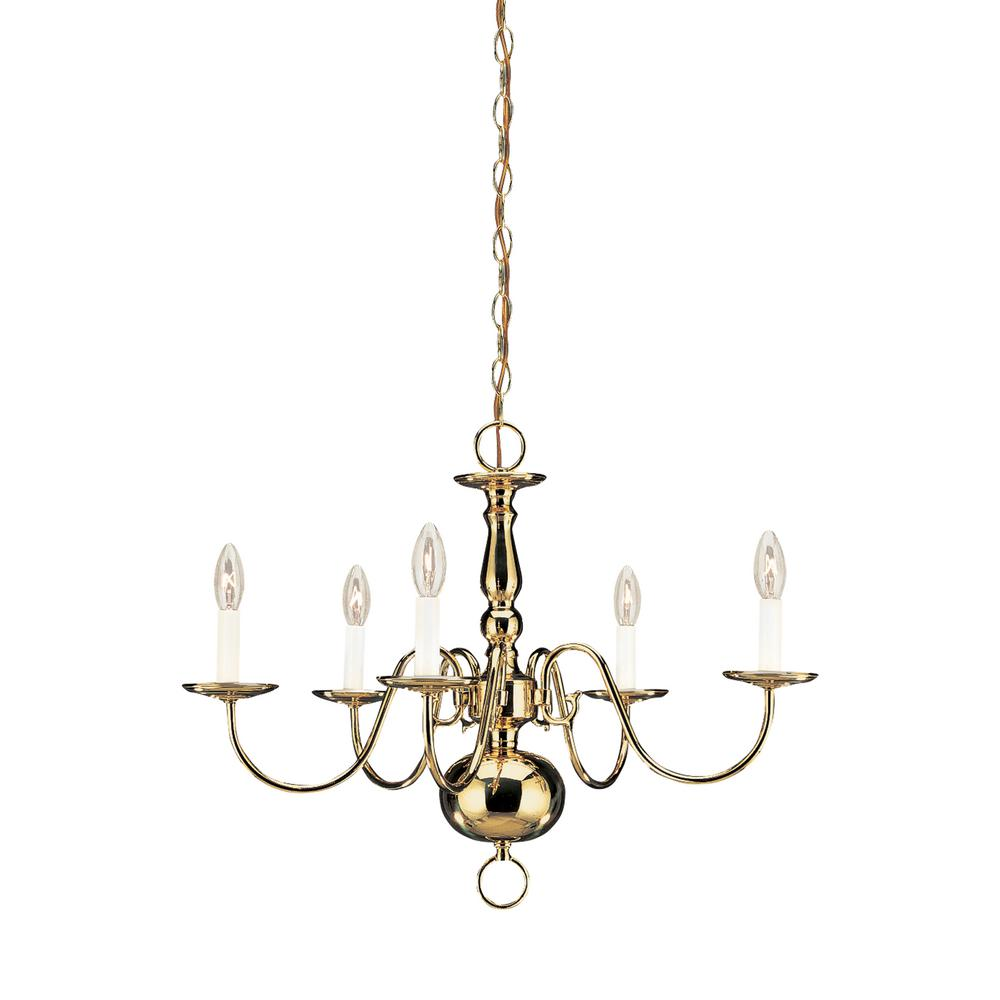 Traditional 5-Light Polished Brass Chandelier