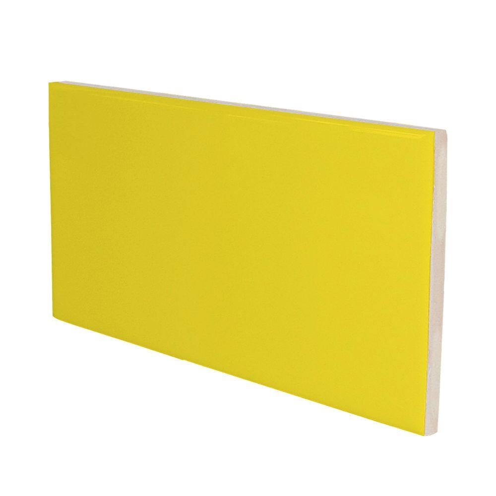 U.S. Ceramic Tile Color Collection Bright Yellow 3 in. x 6 in. Ceramic Surface Bullnose Wall Tile-DISCONTINUED
