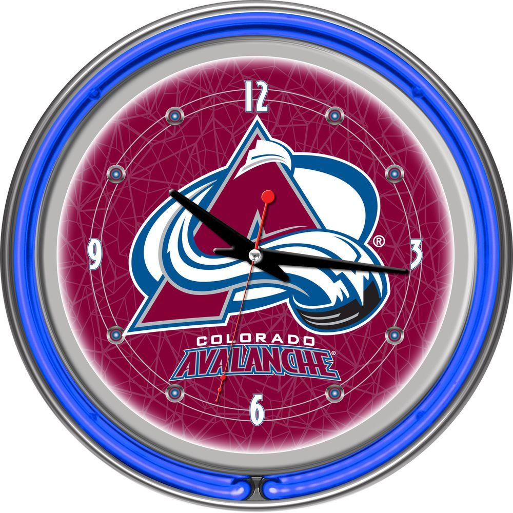 Trademark Global 14 in. Colorado Avalanche NHL Neon Wall Clock