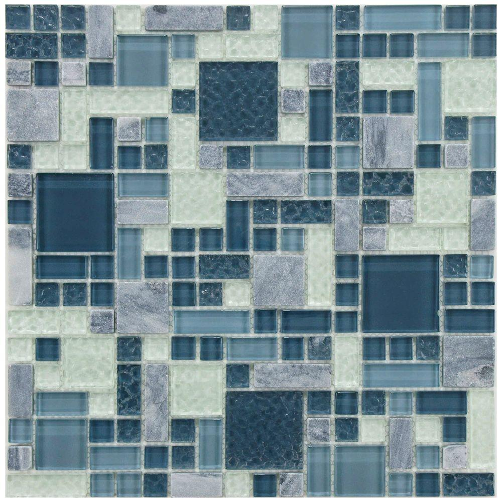Merola Tile Tessera Versailles Gulf 11-3/4 in. x 11-3/4 in. x 8 mm Glass and Stone Mosaic Tile, Gulf Blue/Mixed Finish