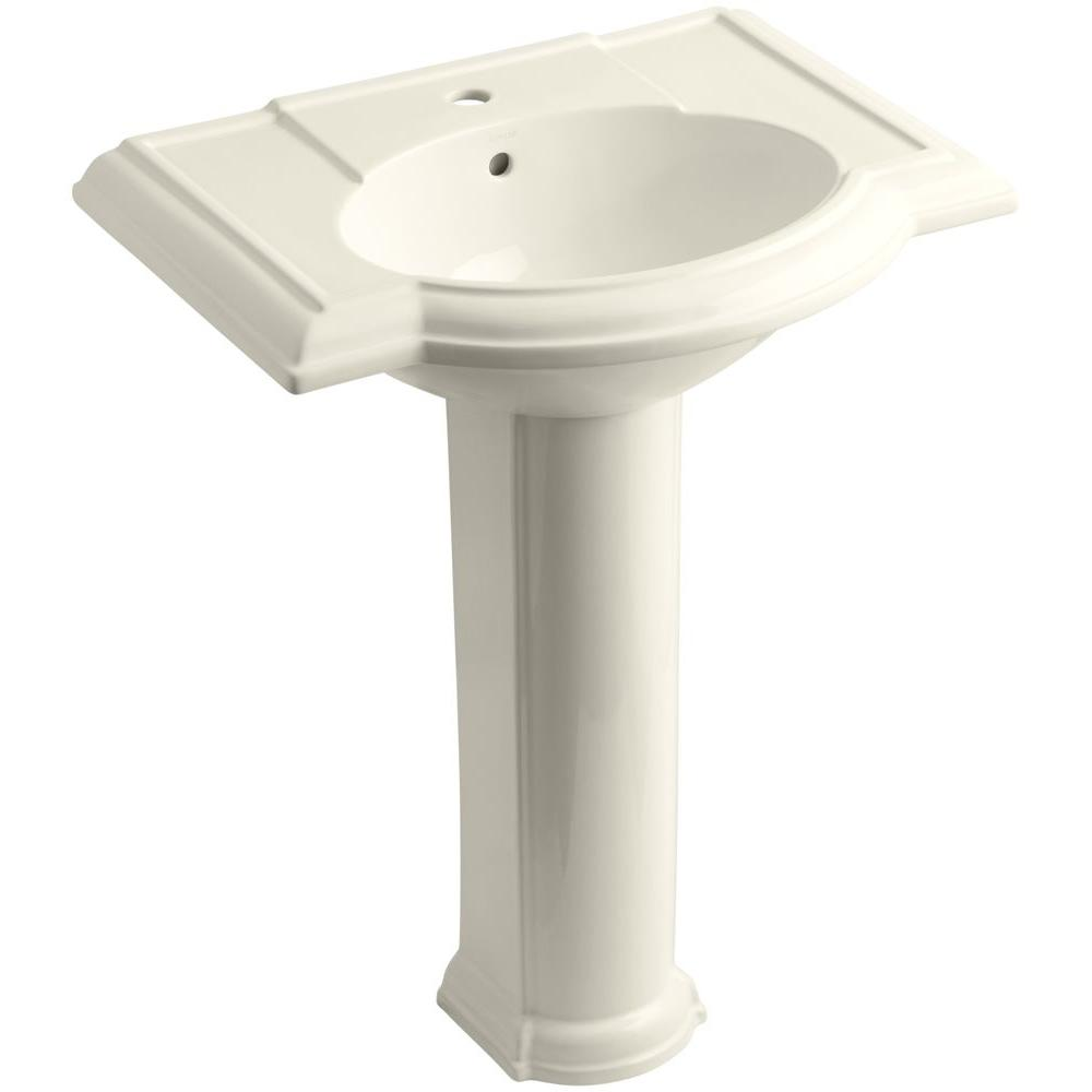 Devonshire Vitreous China Pedestal Combo Bathroom Sink in Almond with Overflow