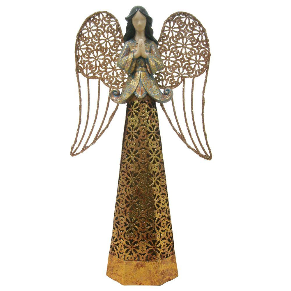 13.38 in. Lit Resin/Metal Angel in 3 Assorted-MX4035C - The Home