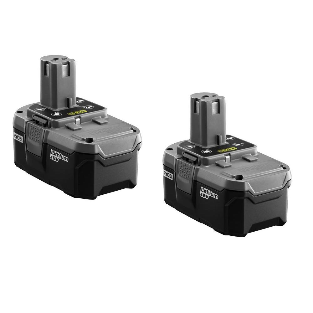 Ryobi Cordless Power Tool Batteries 18-Volt One+ High Capacity Lithium-Ion Battery (2-Pack) P184
