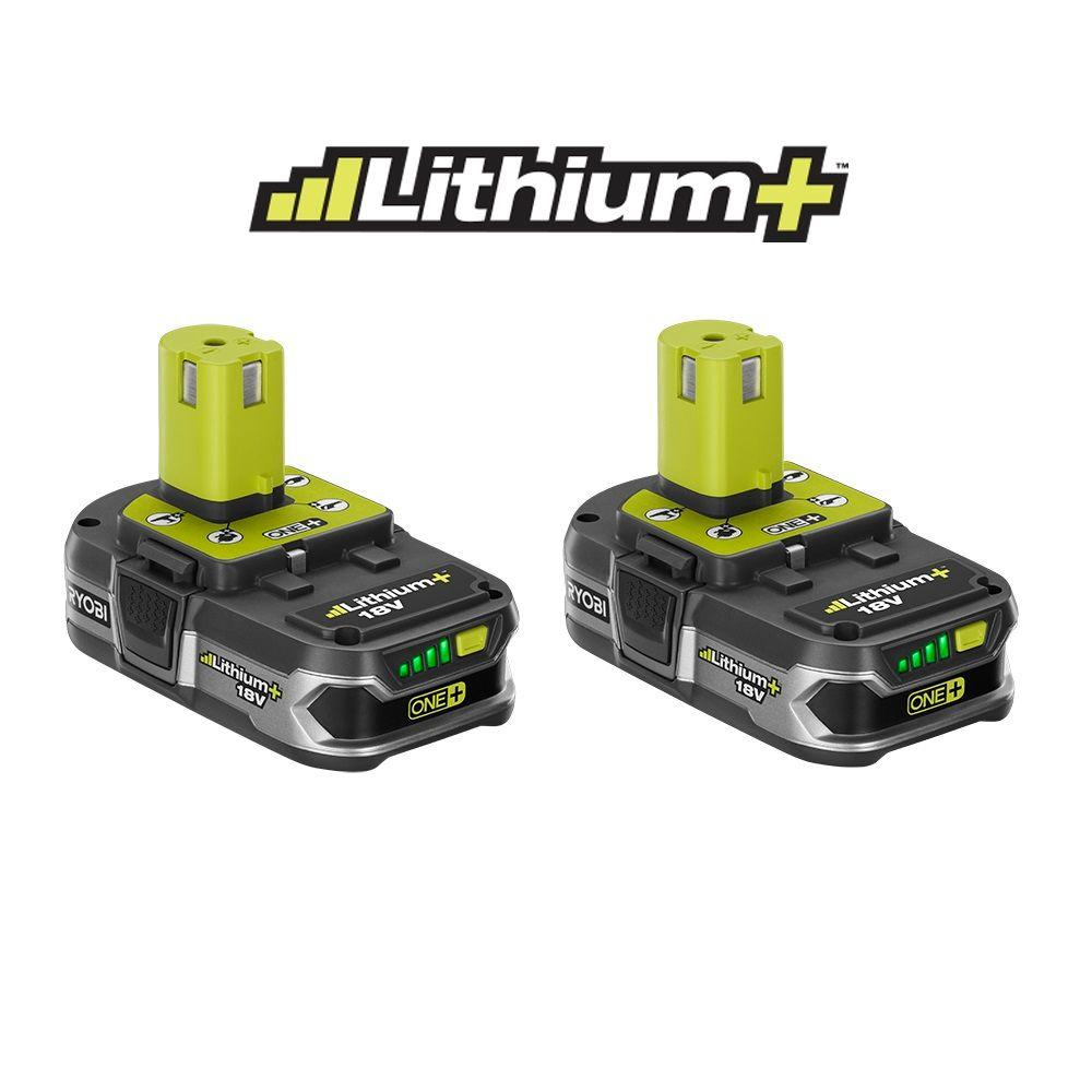 Ryobi Cordless Power Tool Batteries 18-Volt One+ Compact Lithium+ Battery (2-Pack) P109