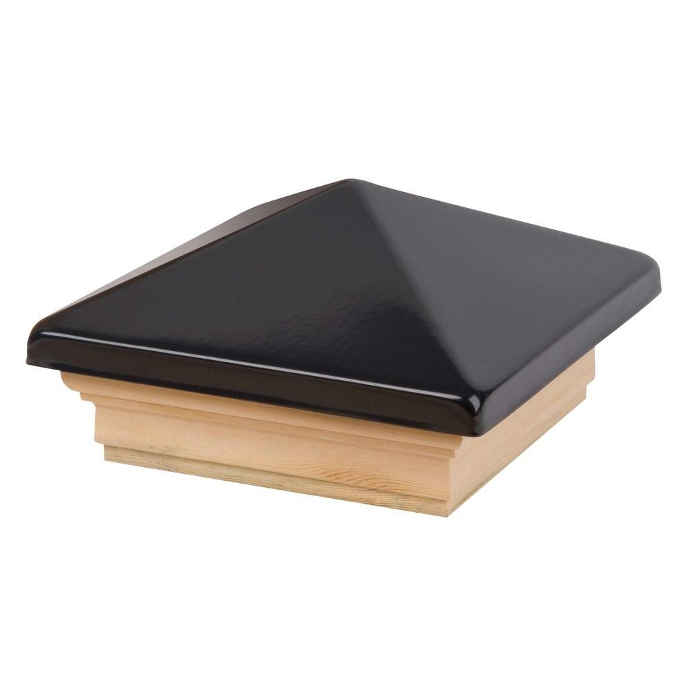 Waddell 4 in. x 4 in. Black Pyramid Post Cap with Pine Base