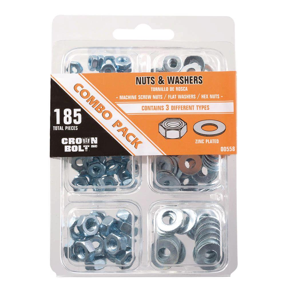Zinc-Plated Nut and Washer Combo Pack (185-Piece per Bag)