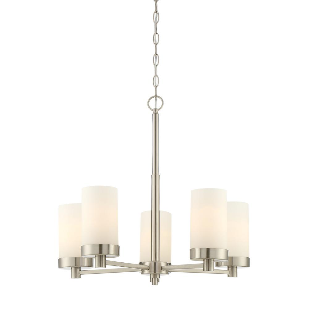 5-Light Brushed Nickel Chandelier with Etched White Opal Glass Shade