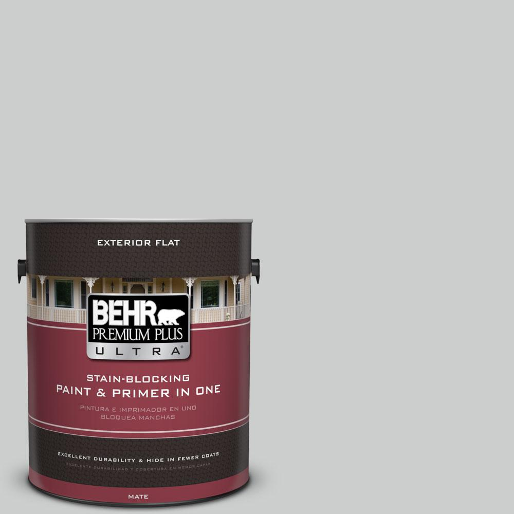 BEHR Premium Plus Ultra 1-gal. #N460-2 Planetary Silver Flat Exterior Paint