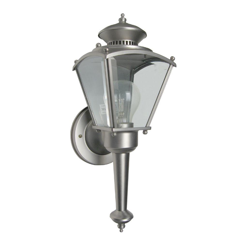 Beveled Glass Lantern 1-Light Pewter Outdoor Incandescent Wall Lantern