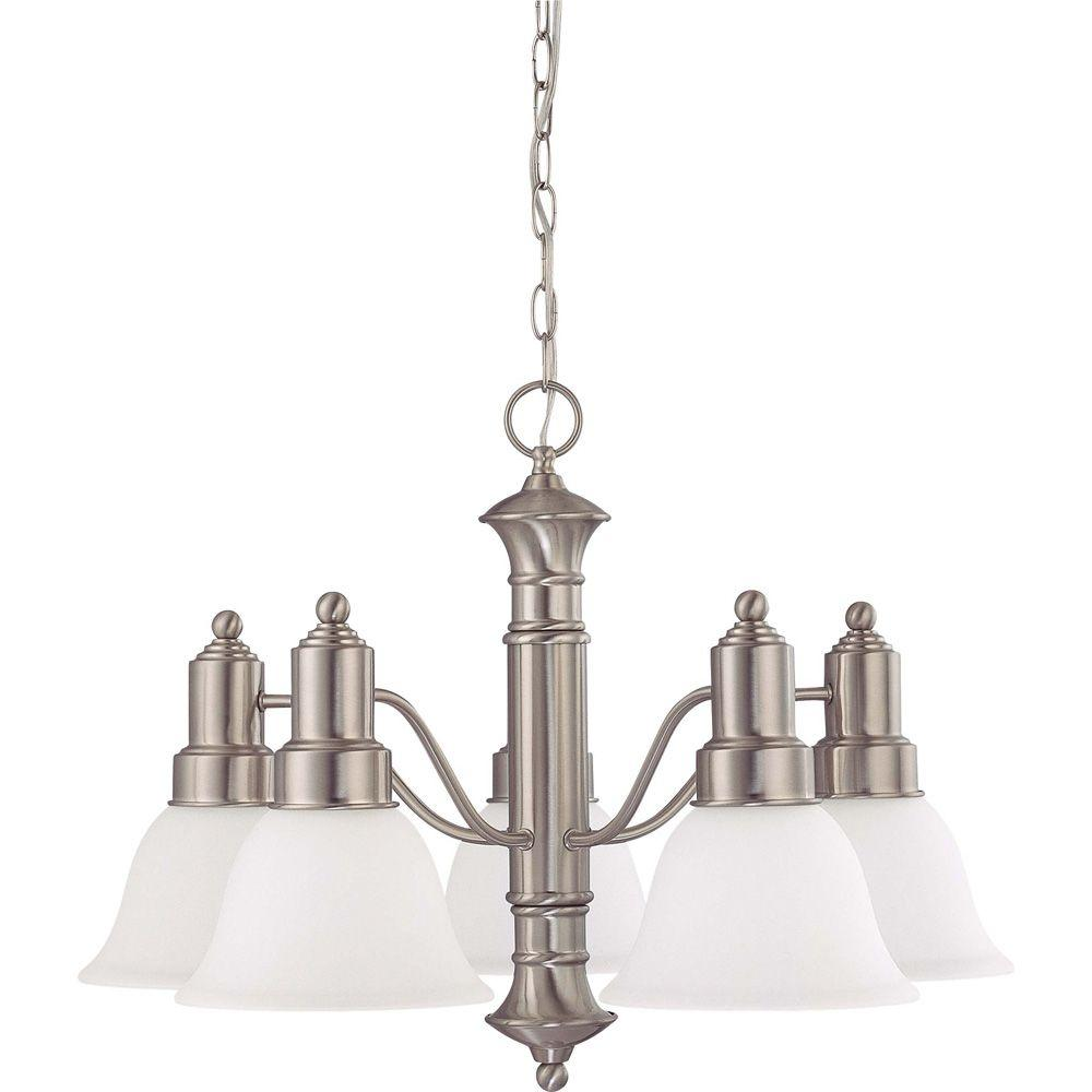 Glomar 5-Light Brushed Nickel Chandelier with Frosted White Glass Shade-HD-3242
