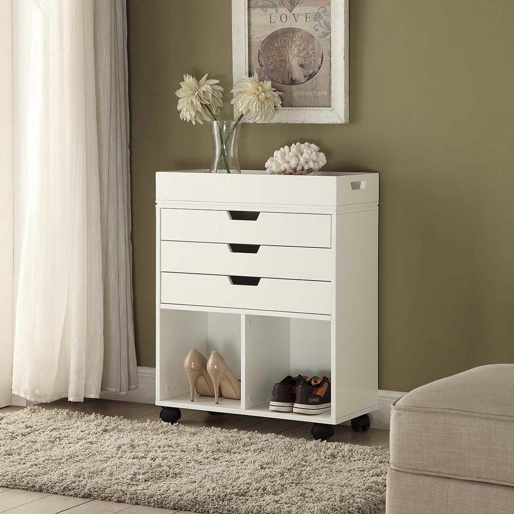 Home Decorators Collection Mobile Storage Cart with 3-Drawer and Open Cubby