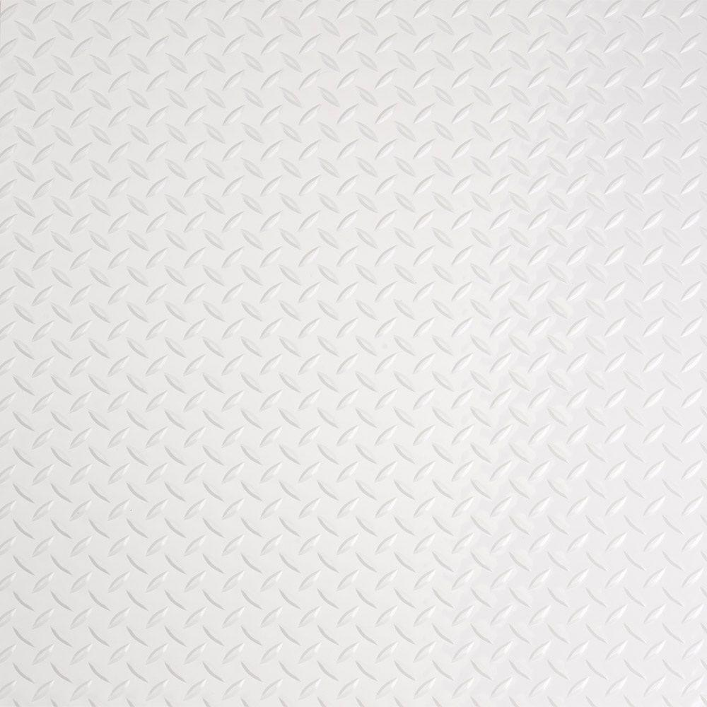 G-Floor RaceDay 24 in. x 24 in. Peel and Stick Diamond Tread Absolute White Poly Vinyl Tile (40 sq. ft. / case)