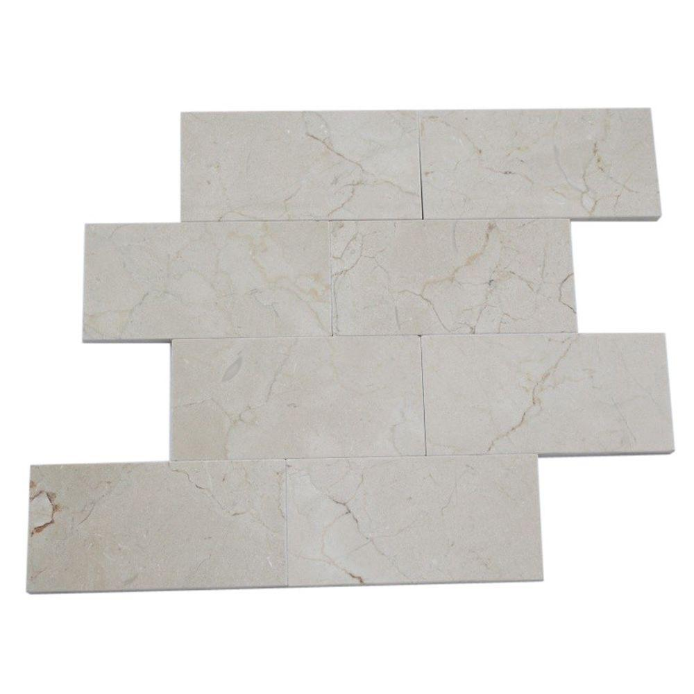 Crema Marfil 3 in. x 6 in. x 4 mm Marble Mosaic Floor and Wall Tile