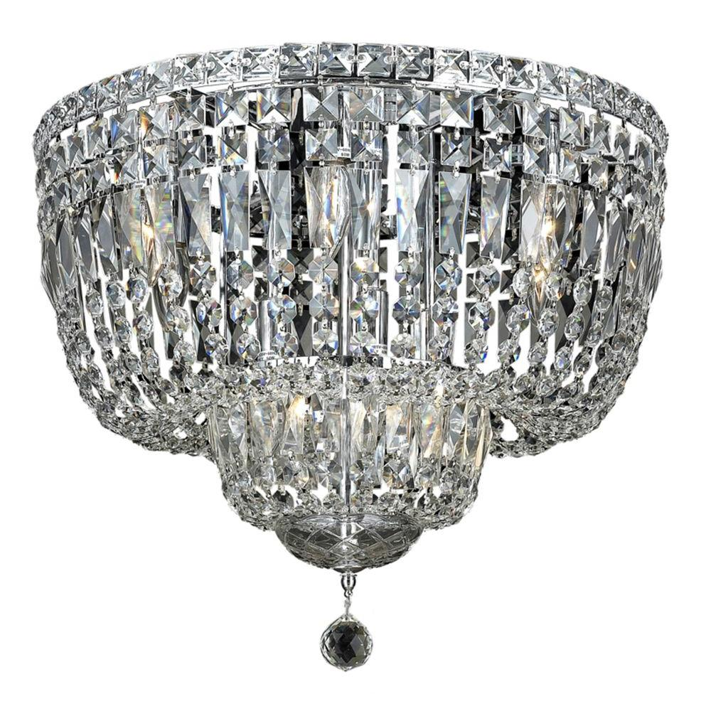 10-Light Chrome Flushmount with Clear Crystal
