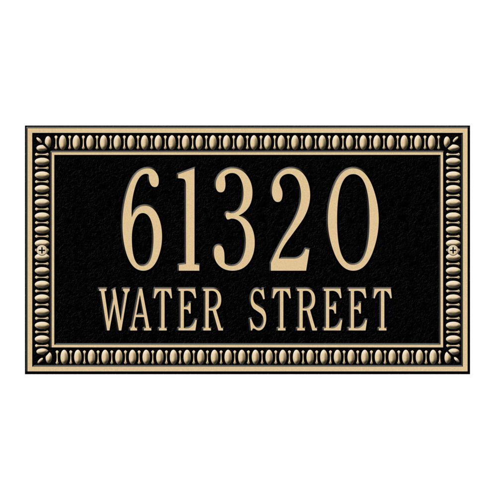 Egg and Dart Rectangular Black/Gold Standard Wall Two Line Address Plaque