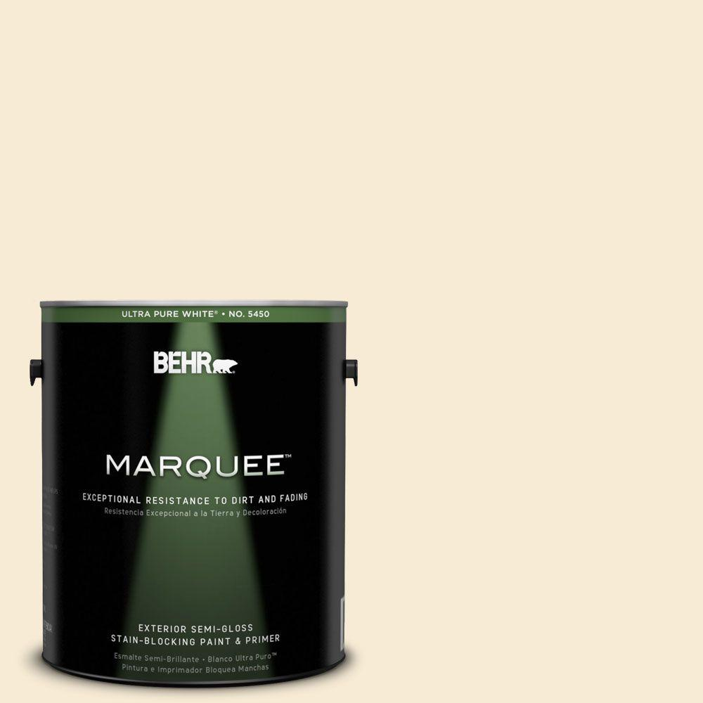 BEHR MARQUEE 1-gal. #330C-1 Honeysuckle White Semi-Gloss Enamel Exterior