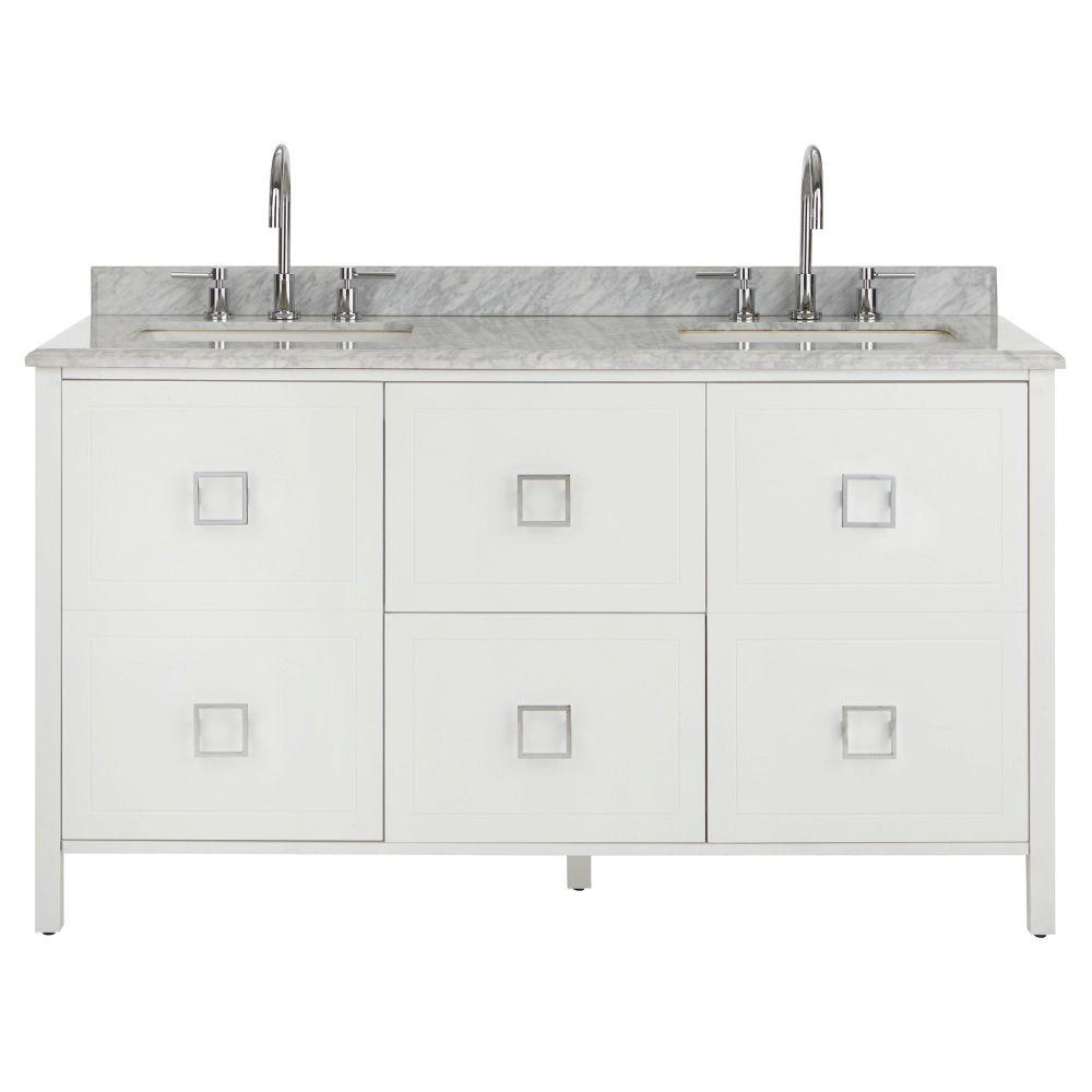 Drexel 60 in. W Vanity in White with Natural Marble Vanity