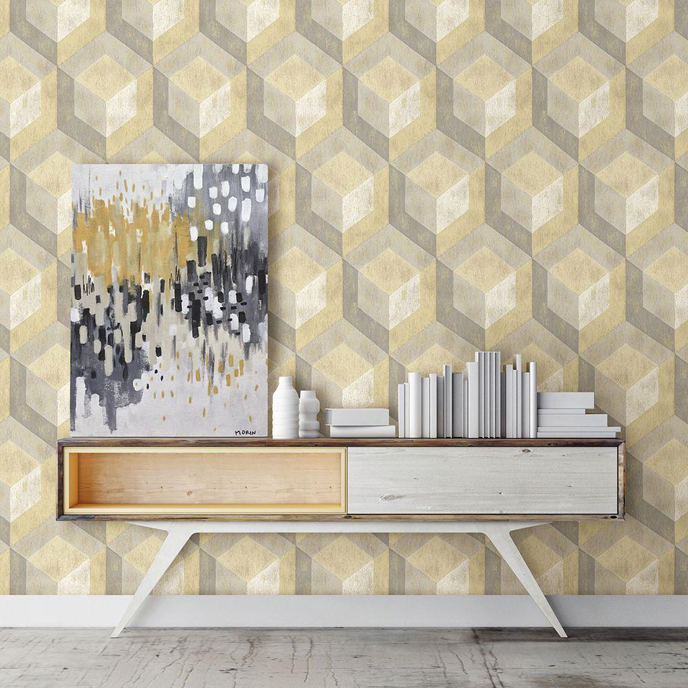 Honey Rustic Wood Tile Geometric Wallpaper