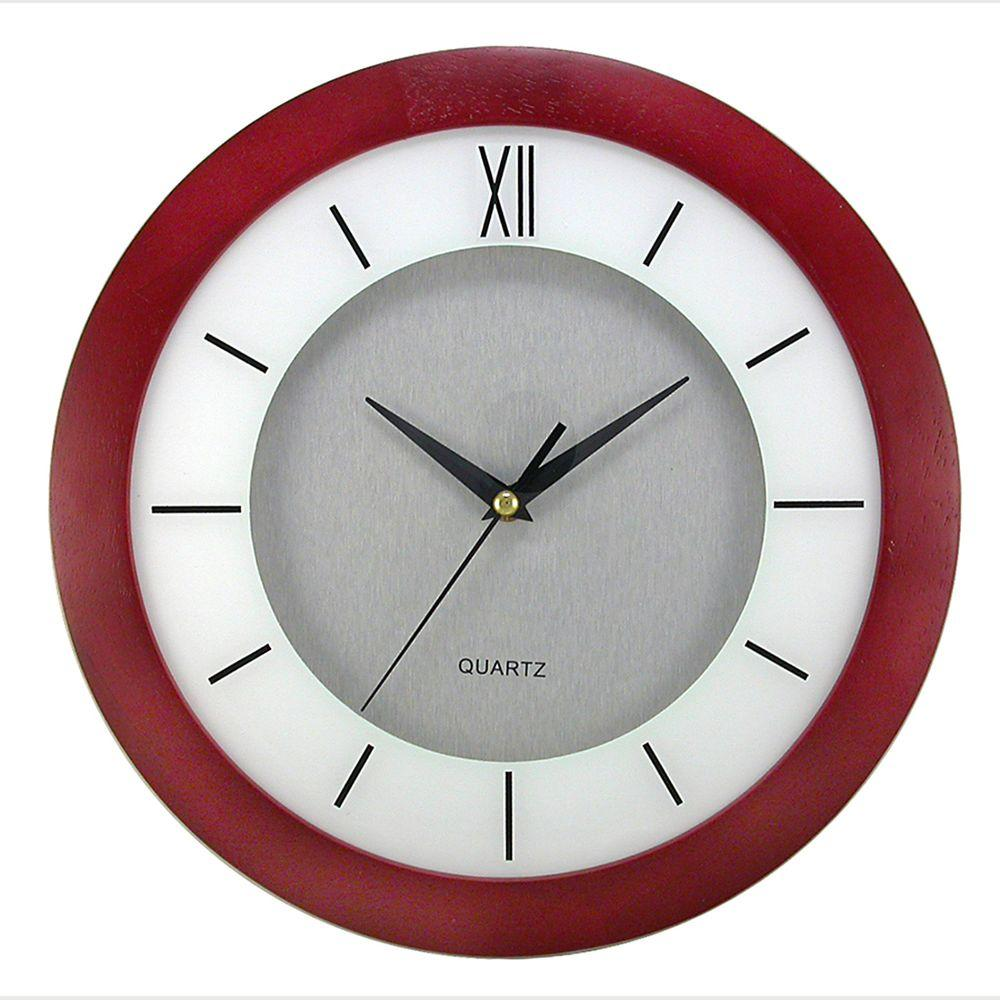 Timekeeper Products 11 in. Round Cherry Wood Frame, White Screening, Silver