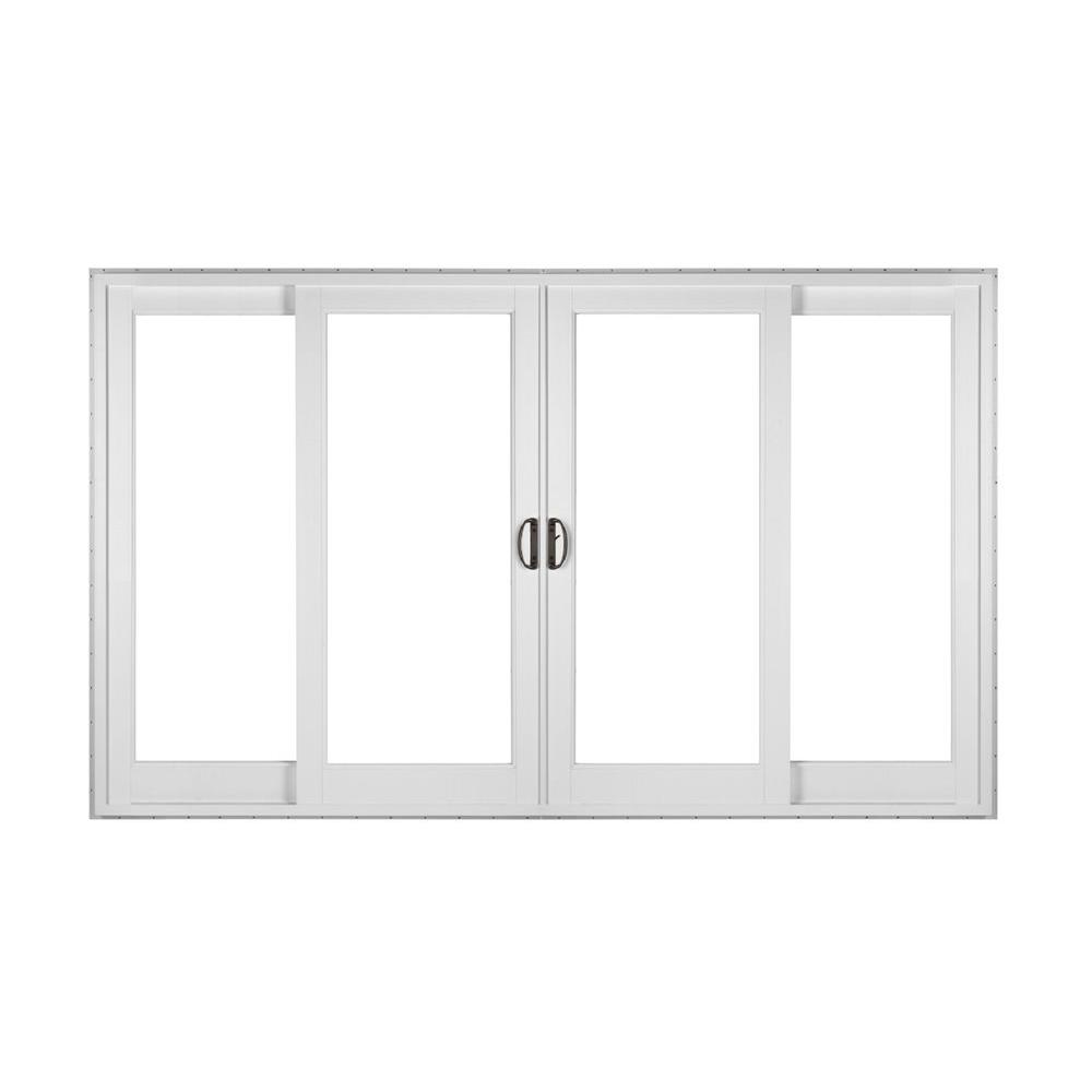 Simonton white 4 panel french rail sliding patio door with for Sliding panel doors interior